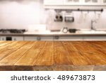 table in kitchen of retro chic... | Shutterstock . vector #489673873