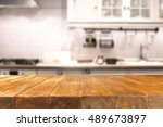 table in kitchen of retro chic... | Shutterstock . vector #489673897