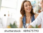 start up team of two young... | Shutterstock . vector #489675793