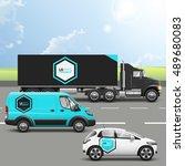 blue transport advertising... | Shutterstock .eps vector #489680083