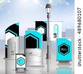 blue outdoor advertising design ... | Shutterstock .eps vector #489680107