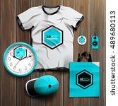 blue promotional souvenirs... | Shutterstock .eps vector #489680113