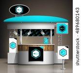 blue exhibition stand design... | Shutterstock .eps vector #489680143