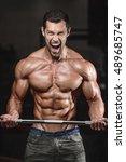 fitness strength training... | Shutterstock . vector #489685747