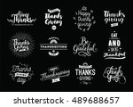 thanksgiving day typography set.... | Shutterstock .eps vector #489688657