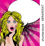 pop art excited woman with... | Shutterstock .eps vector #489690547