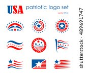usa patriotic emblem logo icon... | Shutterstock .eps vector #489691747
