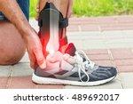man in athletic sneakers... | Shutterstock . vector #489692017