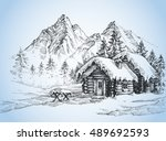 christmas background  house in... | Shutterstock .eps vector #489692593