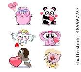 pig bear rabbit elephant baby... | Shutterstock .eps vector #489697267