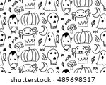 seamless halloween pattern for... | Shutterstock .eps vector #489698317