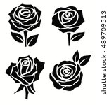 vector contour beautiful roses... | Shutterstock .eps vector #489709513