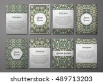 flyers template set with... | Shutterstock .eps vector #489713203