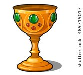 golden goblet encrusted with... | Shutterstock .eps vector #489719017