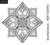 flower mandala. vintage... | Shutterstock .eps vector #489720493