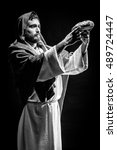 jesus christ praying to god... | Shutterstock . vector #489724447
