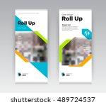 orange and green creative... | Shutterstock .eps vector #489724537