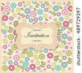 vintage invitation or wedding...   Shutterstock .eps vector #489729397