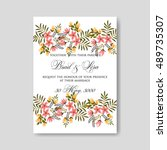 romantic pink peony bouquet... | Shutterstock .eps vector #489735307