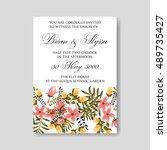 romantic pink peony bouquet... | Shutterstock .eps vector #489735427