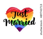 just married phrase on bright... | Shutterstock .eps vector #489743713