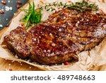 juicy beef rump steak from... | Shutterstock . vector #489748663