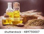 rice bran oil in bottle glass... | Shutterstock . vector #489750007