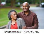 elderly african american man... | Shutterstock . vector #489750787
