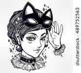 beautiful anime or retro manga... | Shutterstock .eps vector #489752563