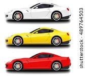 realistic sport car set. | Shutterstock .eps vector #489764503