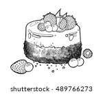 sweet little cake with... | Shutterstock .eps vector #489766273