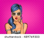 vector pop art surprised girl | Shutterstock .eps vector #489769303