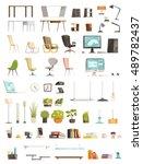 modern office furniture... | Shutterstock .eps vector #489782437