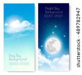 two contrasting sky banners  ... | Shutterstock .eps vector #489782947