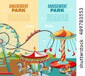 amusement park cartoon vertical ... | Shutterstock .eps vector #489783553
