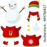 cute paper doll with winter... | Shutterstock .eps vector #489786817