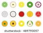 collection of vector fruit... | Shutterstock .eps vector #489793057