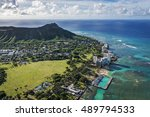 aerial view of diamond head and ... | Shutterstock . vector #489794533