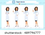 set of smart doctor presenting... | Shutterstock .eps vector #489796777