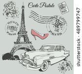 vintage old poster of paris... | Shutterstock .eps vector #489799747