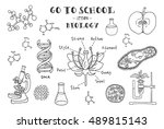 biology. hand sketches on the... | Shutterstock .eps vector #489815143