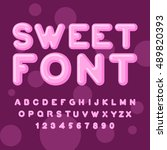 sweet font. pink letters.... | Shutterstock .eps vector #489820393