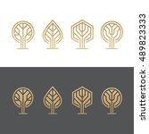 set of abstract golden tree... | Shutterstock .eps vector #489823333