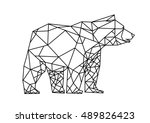 bear low poly style line art.... | Shutterstock .eps vector #489826423