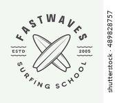 vintage surfing logo  emblem ... | Shutterstock .eps vector #489828757