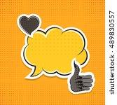 vintage vector paper sticker... | Shutterstock .eps vector #489830557