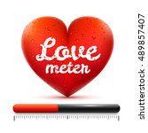 love meter. red heart with... | Shutterstock .eps vector #489857407