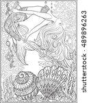 hand drawn mermaid swinging on...   Shutterstock .eps vector #489896263
