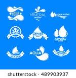 blue logos set. label for... | Shutterstock .eps vector #489903937
