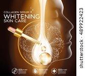 gold collagen serum background... | Shutterstock .eps vector #489922423